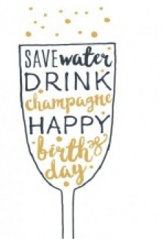 Postkarte *Save water drink champagne*