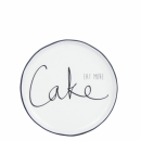 Teller-cakeplate white *Eat more Cake* black