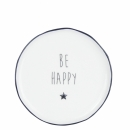 Teller-Dessertplate white *Be happy black*