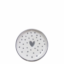 Mini Teller-Tea Tip white *Dots-Heart* grey