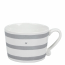 Mug white *Stripes & little heart* grey