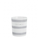Becher Mug *Stripes & happy day* grey